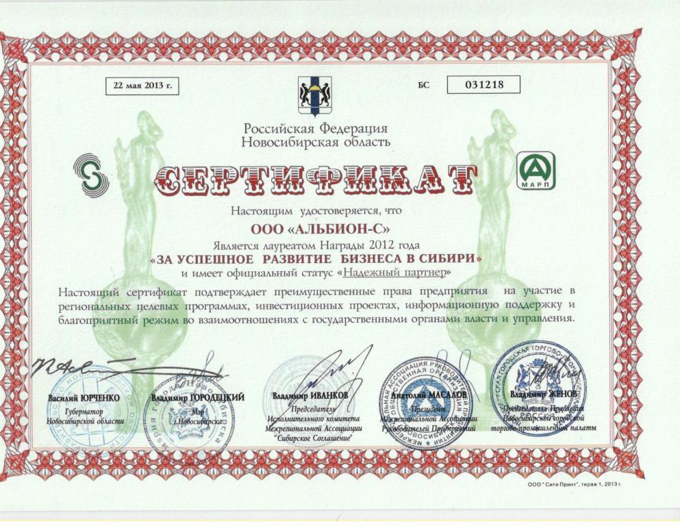 mini_20. За успешное развитие бизнесамв Сибири (Надежный партнер)2012